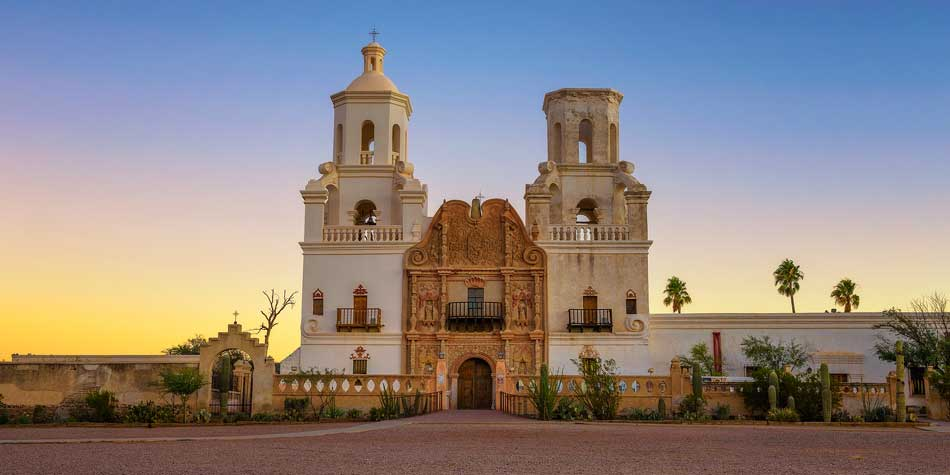 Sunrise at the San Xavier Mission