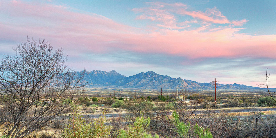 View of the Santa Rita Mountains from Canoa Canyon Estates in Green Valley AZ.